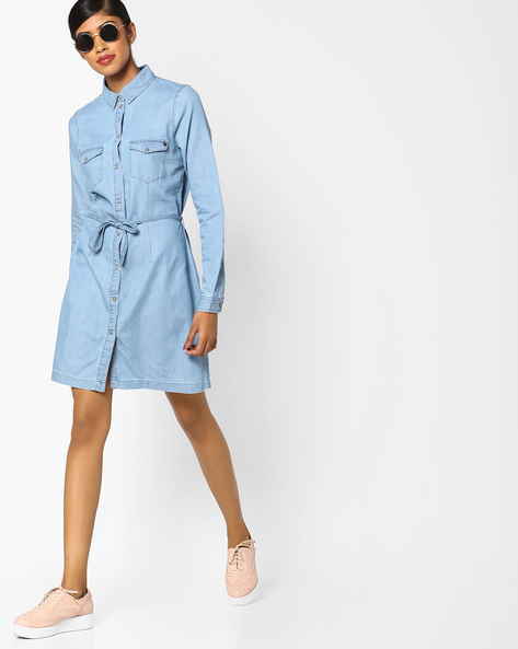 Denim Shirt Dress With Waist Tie-Up By Vero Moda ( Indigo )