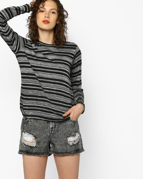 Striped Top With Overlapping Back By DNMX ( Black )