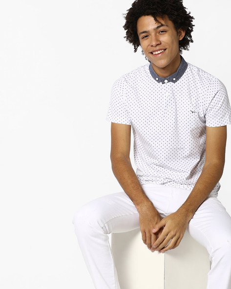 Printed Polo T-shirt With Contrast Collar By FLYING MACHINE ( White )