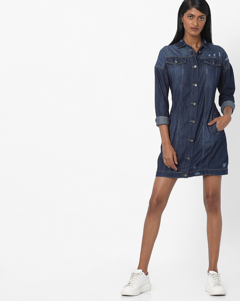 Denim Shirt Dress With Printed Back By AJIO ( Blue )
