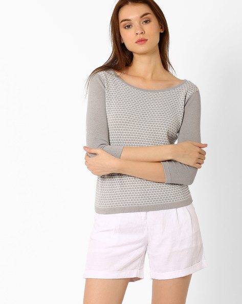 Flat-Knit Top With Boat Neck By FIG ( Medgrey )