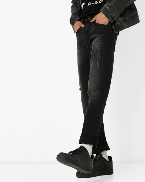 65504 Red Tab Skinny Fit Distressed Jeans By LEVIS ( Black )