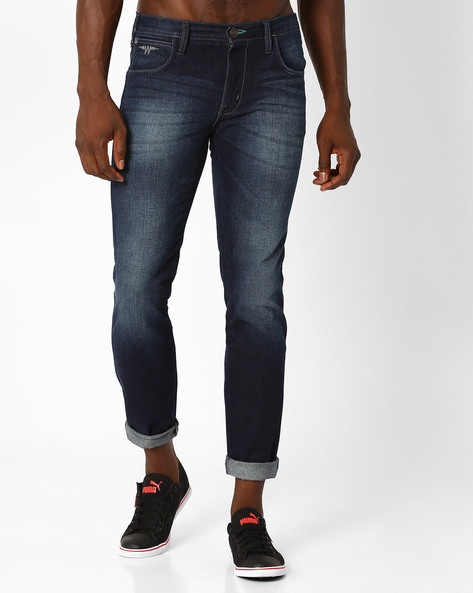 Lightly Washed Straight-Fit Jeans By WRANGLER ( Blue )