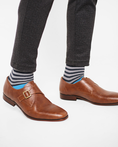 Low-Cut Monk-Strap Formal Shoes By Bond Street By Red Tape ( Tan )