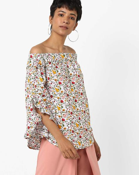 Floral Print Off-Shoulder Top By AJIO ( Offwhite )