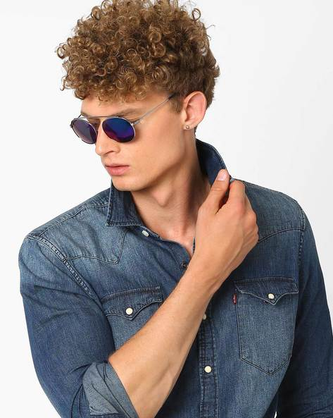 Mirrored Round Sunglasses By Joe Black ( Blue )