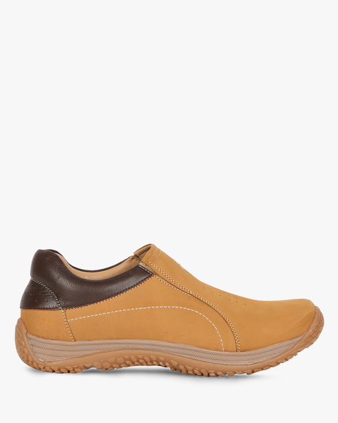 Panelled Leather Slip-On Casual Shoes By RED CHIEF ( Brown )