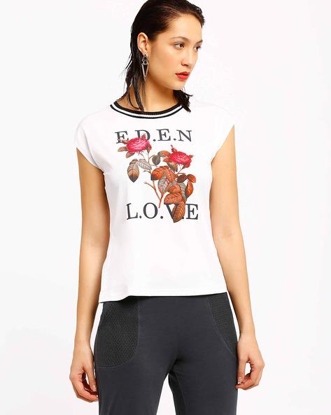 Graphic Print T-shirt By AJIO ( White ) - 460002087005