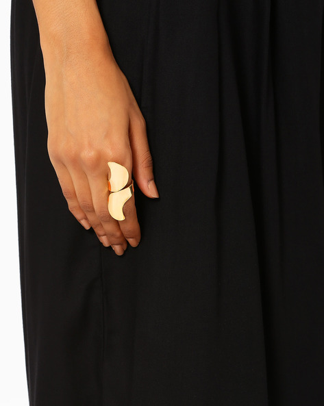 Stylised Brass Ring By AJIO ( Gold )