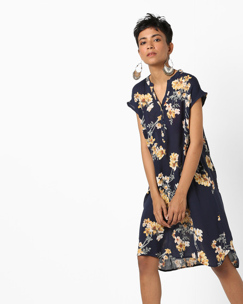 Floral Print Tunic With High-Low Hem By AJIO ( Navy )