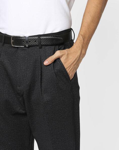 Textured Genuine Leather Belt By ALVARO CASTAGNINO ( Black ) - 460135782001