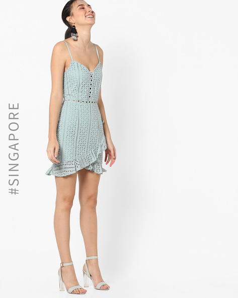 Strappy Lace Dress With Ruffled Hemline By MDS ( Green )