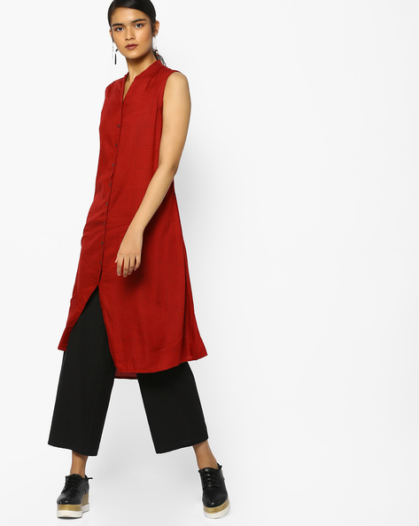 Striped A-Line Kurta By Project Eve IW Casual ( Maroon )