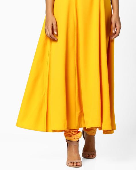 Churidar Pants With Drawstring Waist By AJIO ( Yellow )