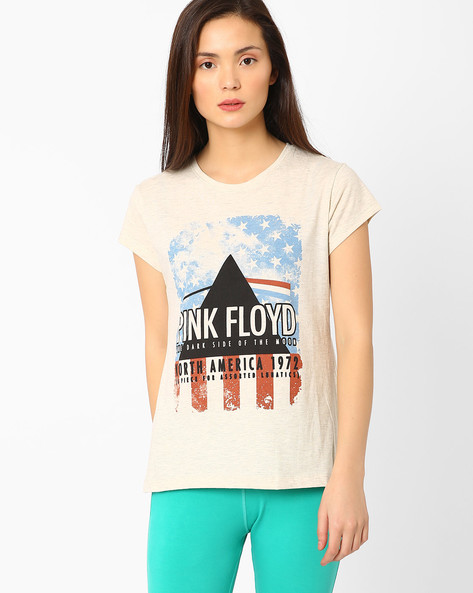 Pink Floyd Print T-shirt By Free Authority ( Grey )
