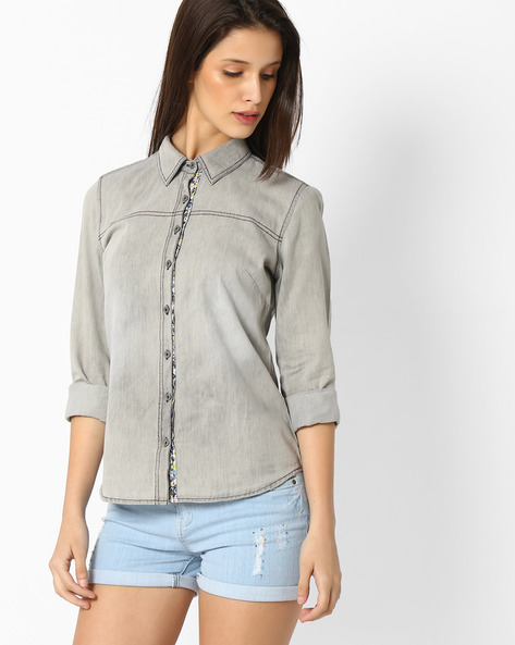 Denim Shirt With Spread Collar By DNM X ( Ltgrey )