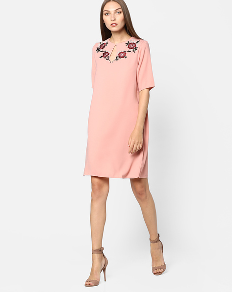 Shift Dress With Floral Embroidery By Femella ( Pink )