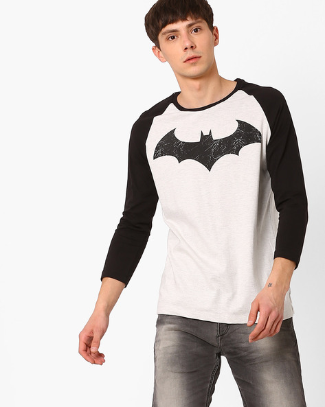 Batman Print T-shirt With Raglan Sleeves By Free Authority ( Offwhite )