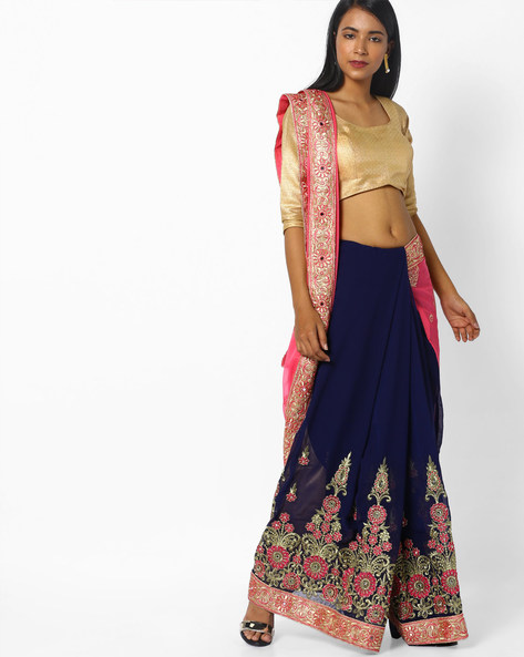 Embroidered Half-and-Half Saree By CHHABRA 555 ( Pink )