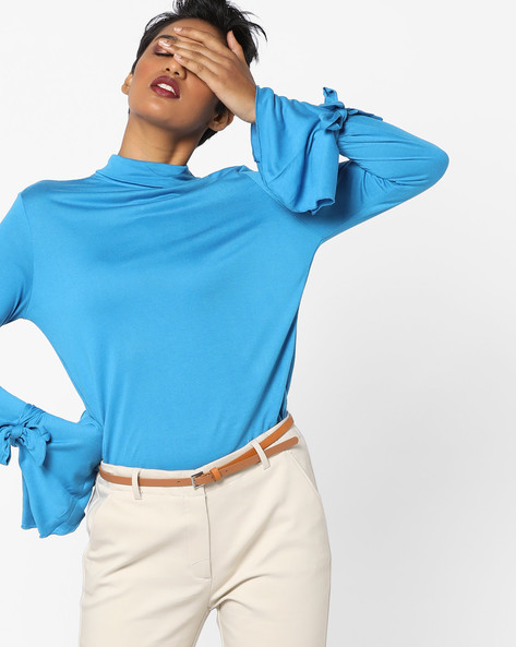Turtle-Neck Top With Bell Sleeves By AJIO ( Teal )