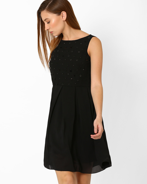 Fit & Flare Dress With Embellished Bodice By AJIO ( Black )