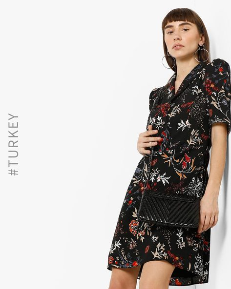Floral Print Dress With Notched Lapel By TRENDYOL ( Multi )