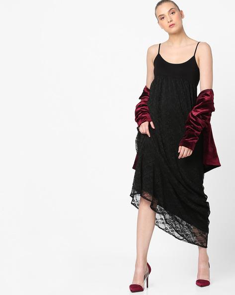 Strappy Empire-Waist Lace Dress By Vero Moda ( Black )