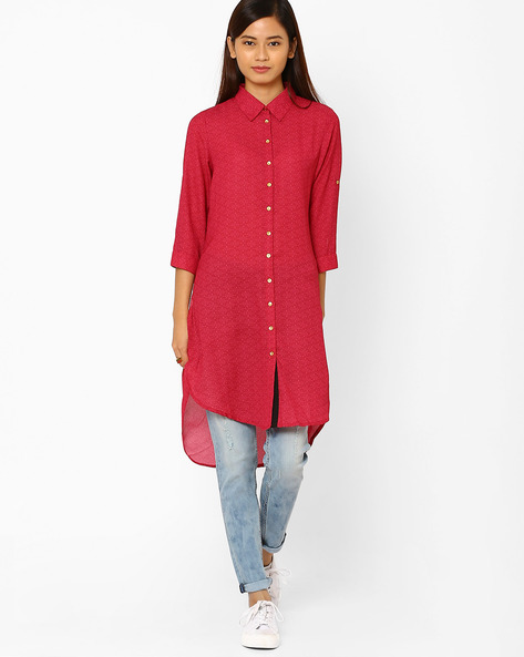 Printed Shirt Kurta With High-Low Hem By Juniper ( Rust )