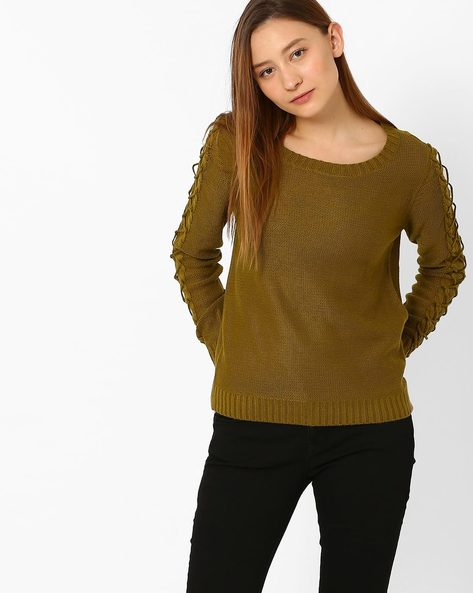 Pullover With Ribbed Hems By Only ( Drkgreen )