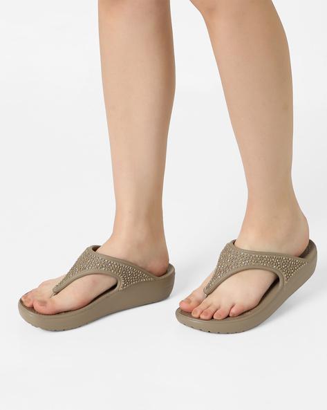 Crocs Sloane Embellished Flat Sandals By CROCS ( White )