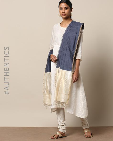 Handloom Pure Silk Tussar Muga Dupatta By Indie Picks ( Navyblue )