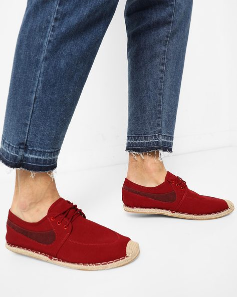 Panelled Lace-Up Casual Shoes By AJIO ( Red )