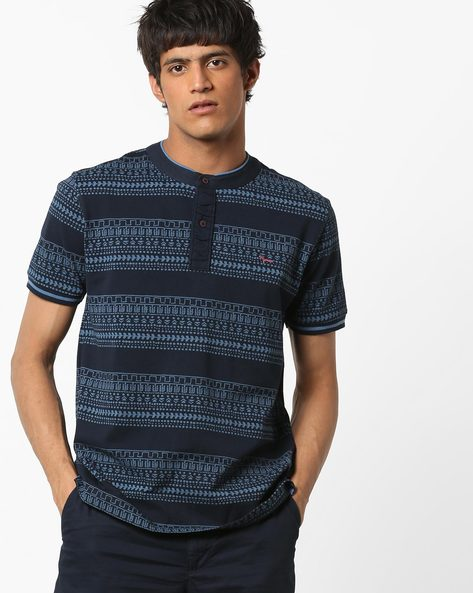 Printed Henley T-shirt By FLYING MACHINE ( Navy )