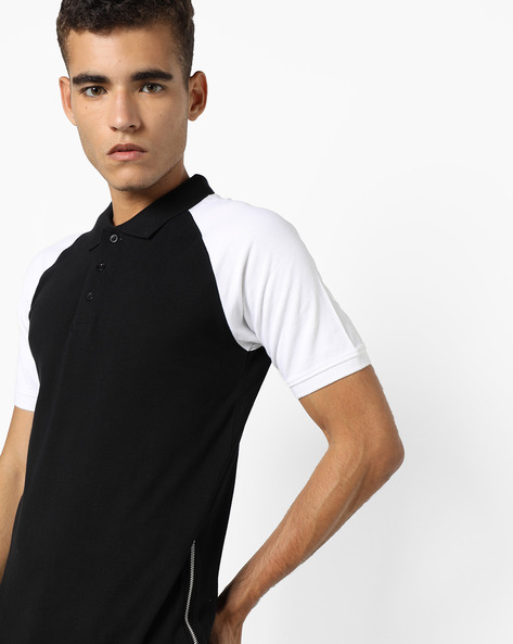 Polo T-shirt With Raglan Sleeves By KULTPRIT ( Black )