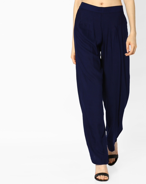 High-Rise Palazzo Pants By PASLEI ( Navy )