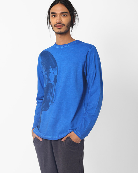 Full-Sleeve Cotton T-shirt With Skull Print By Garcon ( Blue )