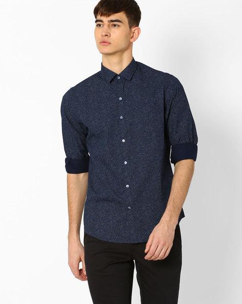 Slim Fit Printed Shirt By JOHN PLAYERS ( Blue )