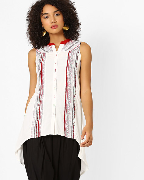 Printed Sleeveless Tunic By Global Desi ( White )