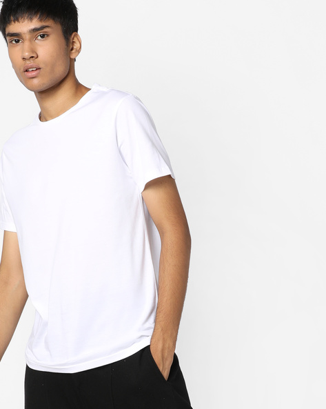 Crew-Neck T-shirt With Printed Back By AJIO ( White )