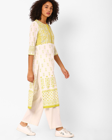 Printed Straight Kurta By Biba ( Green )