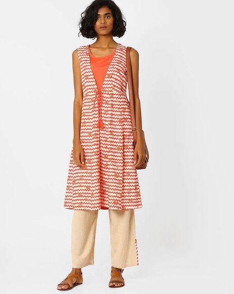 Chevron Print Flared Kurta By AJIO ( Coral )