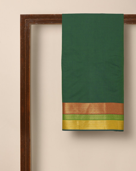 South Cotton Jacquard Kurta Fabric With Zari Border By Indie Picks ( Green ) - 460150873001