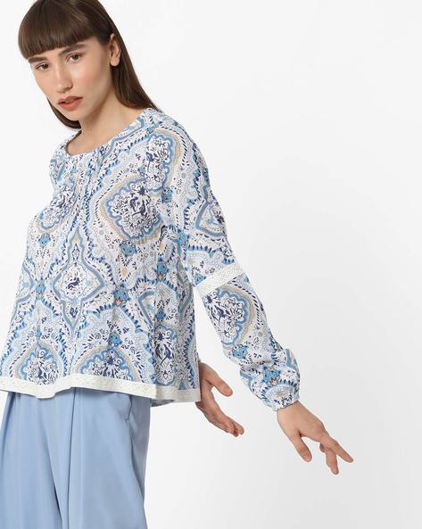Printed Cotton Top With Lace Trim By FIG ( Offwhite )