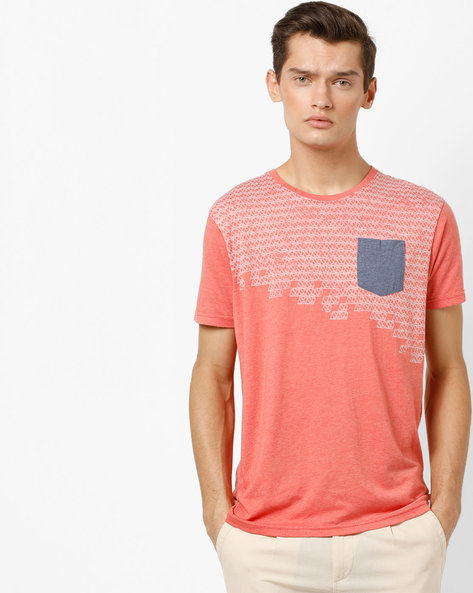 Printed Slim Fit Cotton T-shirt By Pepe Jeans ( Coral )