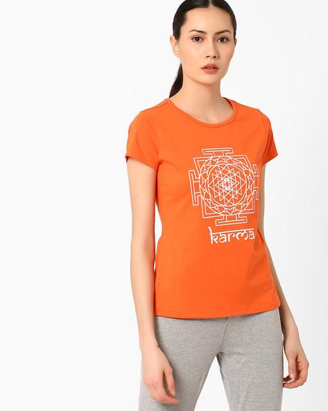 Graphic Print Crew-Neck T-shirt By AJIO ( Orange ) - 460039916009