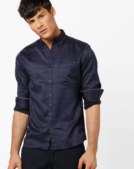 Slim Fit Polka-Dot Print Shirt By AJIO ( Navy )