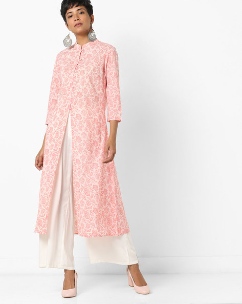 Floral Print Kurta With Front Slit By AJIO ( Pink )