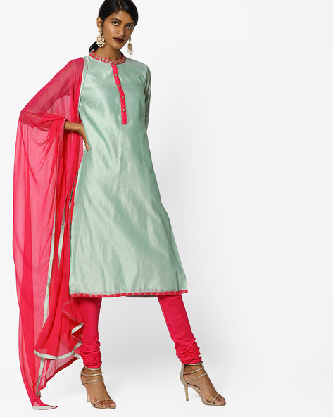 Churidar Kurta With Contrast Dupatta Set By AJIO ( Green )