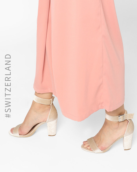 Strappy Ankle-Wrap Chunky Heels By TALLY WEiJL ( Pink )