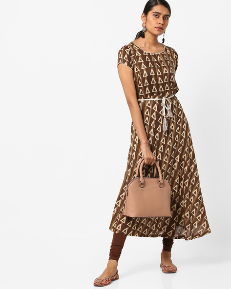 Block Print Fit & Flare Dress With Tie-Up By AJIO ( Beige )
